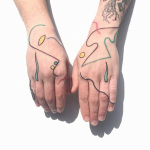 Unique tattoo by Paolo Bosson #PaoloBosson #surrealism #surreal #fauvism #cubism #abstract #abstractexpressionism #linework #illustrative #modernart #symbolism #hand #color #portrait