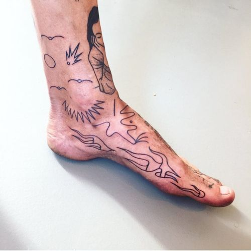 Unique tattoo by Paolo Bosson #PaoloBosson #surrealism #surreal #fauvism #cubism #abstract #abstractexpressionism #linework #illustrative #modernart #symbolism #blackwork #foot #ankle