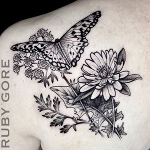 Tattoo by Ruby Gore | Philadelphia, PA http://www.therubygore.com #vegantattoo #onlyblackart #btattooing #blacktattooart #ladytattooers #darkartists #blackworkers #blackwork #blackink #vegan #illustrativetattoo #flowertattoo #floraltattoo #planttattoo #botanicaltattoo #naturetattoo #dotworktattoo #phillytattoo #phillyink #bestofphilly #fishtown #newjerseytattoo #newyorktattoo #pittsburghtattoo #baltimoretattoo