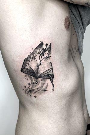Magic, books, reading tattoo