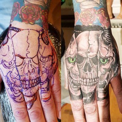 Split Mask Skull - Stencil to Tattoo #Skull #SkullTattoo #SkullMask #MaskTattoo #HandTattoo #Hannya #HannyaMask #HannyaTattoo #Horror #HorrorTattoo #HorrorArt #Stencil #StencilStuff