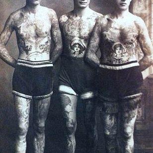 Vintage photograph of Nautical tattoos #NauticalTattoos #sailortattoos #sailors #traditionaltattoos #traditional #AmericanTraditional #nautical