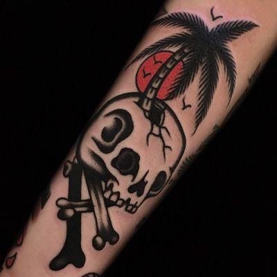 Skull tattoo by Austin Maples #AustinMaples #NauticalTattoos #sailortattoos #sailors #traditionaltattoos #traditional #AmericanTraditional #nautical #skull #palmtree #forearm #arm
