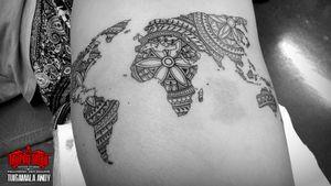 #worldmap #henna #mandala #polynesian thigh tattoo