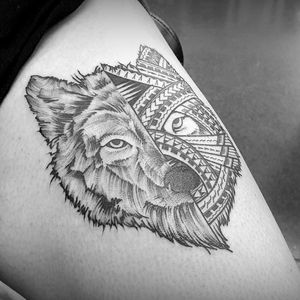 half #graphic half #samoan #wolf face #fineline #stroke