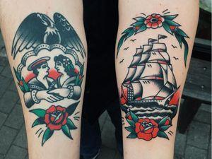 Nautical tattoos by Liam Alvy #LiamAlvy #NauticalTattoos #sailortattoos #sailors #traditionaltattoos #traditional #AmericanTraditional #nautical #ship #roses #hands #couple #love #eagle #flower #forearm
