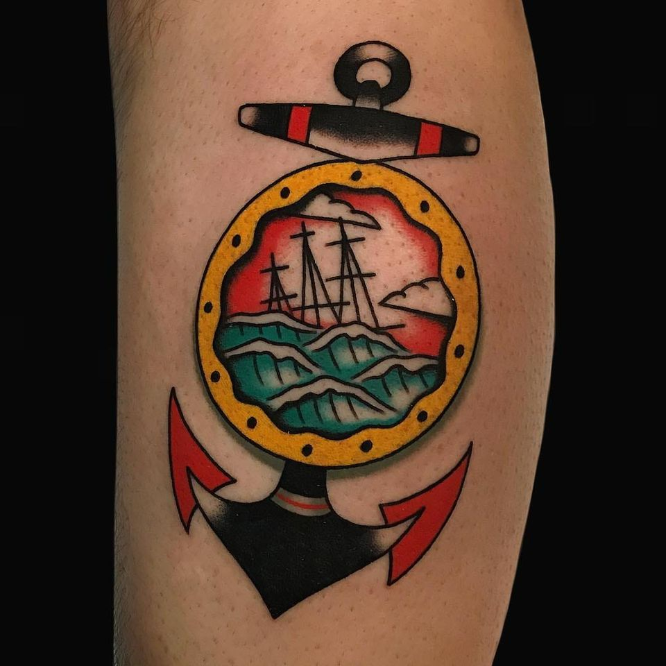 Anchor tattoo by Alex Zampirri #AlexZampirri #NauticalTattoos #sailortattoos #sailors #traditionaltattoos #traditional #AmericanTraditional #nautical #lowerleg #leg #calf #anchor #ship