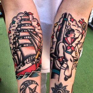 Nautical tattoos by Needles Tattooing #NeedlesTattooing #NauticalTattoos #sailortattoos #sailors #traditionaltattoos #traditional #AmericanTraditional #nautical #ship #forearm