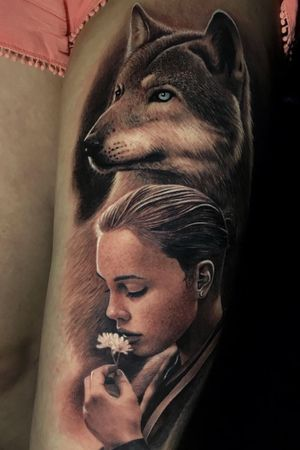 WOLF GUARDIAN @poppinowillinkya #poppino #realism #realistictattoo #wolf #wolftattoo