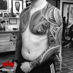 #freehand full #samoan sleeve and chest plate