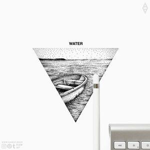 WATER. 4 Elementa mini series available now: www.rawaf.shop/tattoo/basic 📀 Follow on IG (the_rawflow) or Tumblr (therawflow) for more designs. 👍 #dotwork #blackwork #water #black #blackandgrey #minimal #minimalism #small #geometric