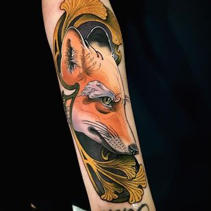 Fox tattoo by Leonardo Branco #LeonardoBranco #fox #Artnouveau #neotraditional #forearm - Top 10 Cities to Get Tattooed In #Berlin #tattooidea #tattoo #tattooart #vacation #travel #top10 #top10cities #gettattooed