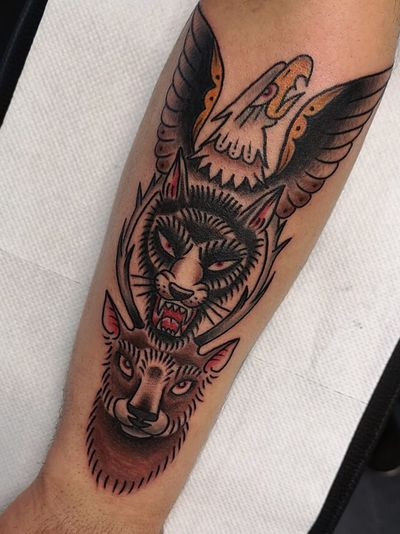#traditional #traditionaltattoo #oldschool #wolf #deer #eagle #bold #colortattoo #totem
