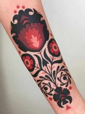 Folk art pattern tattoo by Winston the Whale #WinstontheWhale #folkart #pattern #floral - Top 10 Cities to Get Tattooed In #portland #tattooidea #tattoo #tattooart #vacation #travel #top10 #top10cities #gettattooed