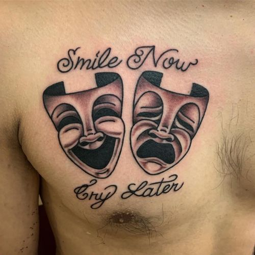 Smile Now Cry Later tattoo by Javier DeLuna #JavierDeLuna #smilenowcrylater #chicano #chest - Top 10 Cities to Get Tattooed In #LosAngeles #tattooidea #tattoo #tattooart #vacation #travel #top10 #top10cities #gettattooed