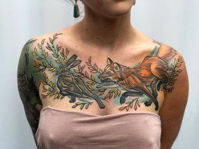 Fox and rabbit tattoo by D'Lacie Jeanne #DLacieJeanne #chesttattoo #fox #rabbit #bunny #nature - Top 10 Cities to Get Tattooed In #Portland #tattooidea #tattoo #tattooart #vacation #travel #top10 #top10cities #gettattooed