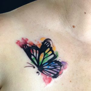 Small rainbow butterfly i got the chance to tattoo the other day. #butterfly #color #semicolon #watercolor #blackwork #gay #pride
