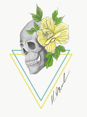 Skull and flowers #skull #skulltattoo #skullandflowers #skulldrawing #flowers