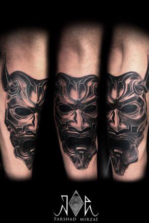 Photo vs tattooo Hannaya mask by tattoo artist: farshad mirzai Tel: 09394621722 location: Tehran,Zaferanie #tehrantattoo #irantattoo