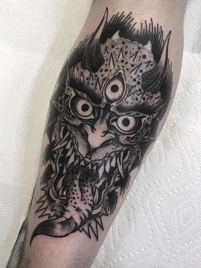 Demon tattoo by Henbo Henning #HenboHenning #lowerleg #darkart #demon - Top 10 Cities to Get Tattooed In #NYC #NewYork #tattooidea #tattoo #tattooart #vacation #travel #top10 #top10cities #gettattooed
