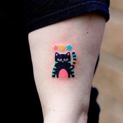Cat hand poke tattoo by Zzizzi #zzizzi #cat #handpoke #upperarm #color #star #heart - Top 10 Cities to Get Tattooed In #Seoul #tattooidea #tattoo #tattooart #vacation #travel #top10 #top10cities #gettattooed