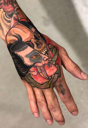 Namakubi by Stu Pagdin #japanese #japanesetattoo #handtattoo #ttt #skull #skulltattoo #namakubi