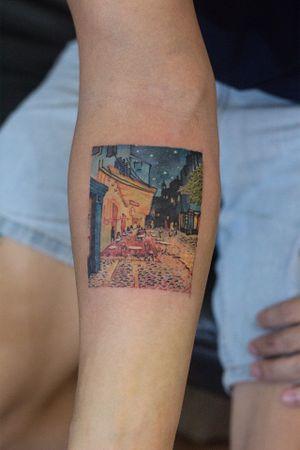 Cafe terrace at night/vangogh #skin #art #micro #tattoo #vangogh