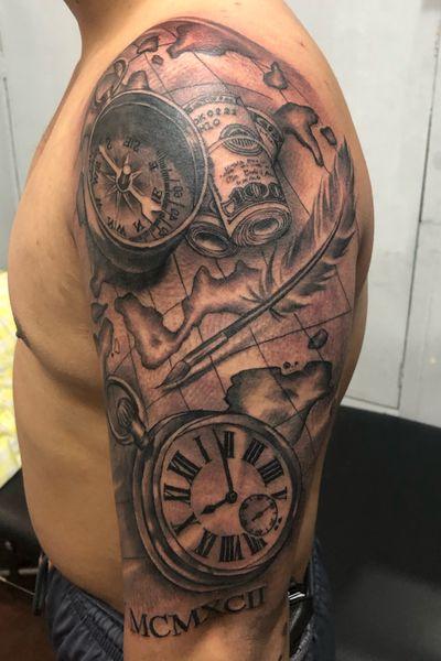 Hustle money survive strong seas #compass #pocket #watch #stacks #money #map #sailor #realism #portrait #black #gray