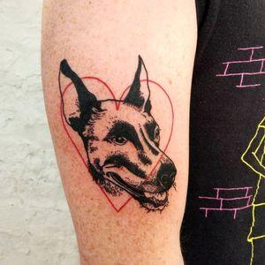 Dog tattoo by Lee aka rat666tat #rat666tat #illustrative #upperarm #arm #heart #doberman #dogtattoos #dog #dogs #petportrait #animal #bff #pet #canine