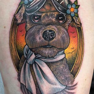Dog tattoo by Guen Douglas #GuenDouglas #color #neotraditional #aviator #flower #upperleg #leg #thigh #dogtattoos #dog #dogs #petportrait #animal #bff #pet #canine