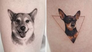 Dog tattoo on the left by Goldy Z and Dog tattoo on the right by Sol Tattoo #SolTattoo #GoldyZ #dogtattoos #dog #dogs #petportrait #animal #bff #pet #canine