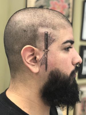 Chicano tattoo by #AlejandroLopez #chicano #chicanotattoo #blackandgrey #traditional #oldschool #illustrative #face #sideface #dagger #switchblade #knife #spiderweb #web #fineline