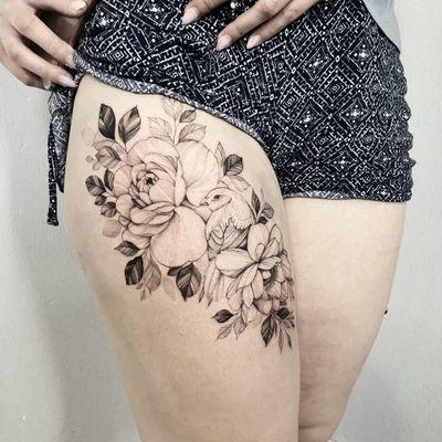 #flowers #flowertattoo #peonytattoo #girlytattoo #blackwork #birdtattoo #bird #inked #flora