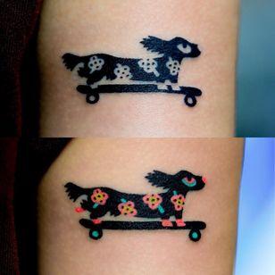 Dog tattoo by ZziZzi #zzizzi #skateboard #weinerdog #daschund #forearm #arm #dogtattoos #dog #dogs #petportrait #animal #bff #pet #canine