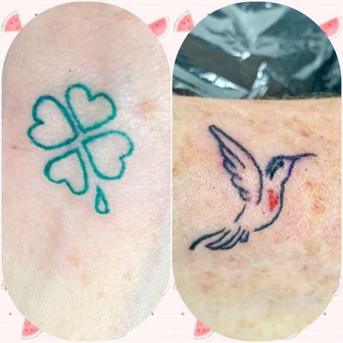 #smalltattoo #clovertattoo #hummingbird #tattooartist #femaletattooartist