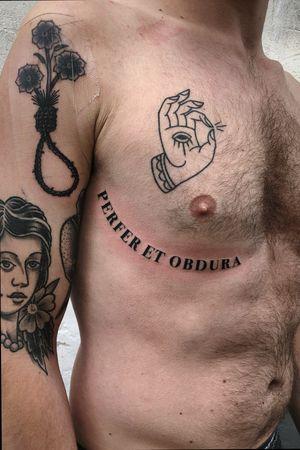 """""""PERFER ET OBDURA"""" done in Bodoni Bold Type Font. #letteringtattoo #simonschuberttattoo #waynejetskitattoo #blackacidtattoogallery #colognetattoo"""