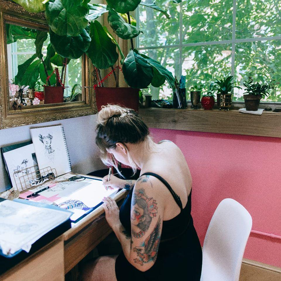 Emilie Robinson of The Aldrich Tattoo Parlour in Minneapolis, Minnesota #EmilieRobinson #TheAldrichTattooParlour #Minneapolis #femaletattooartist #femaletattooist #femaleartist #womensempowerment #safespace #tattoostudio #tattooshop
