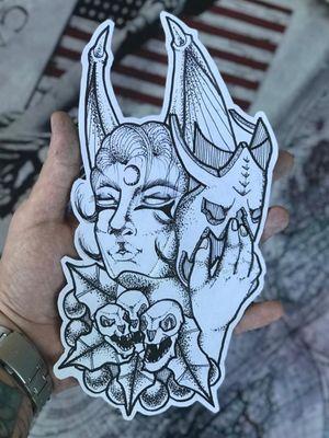 #tattoo #girl #neotraditional #pontillism #pontilhismo #skull #mask #lua #leaves #blackwork