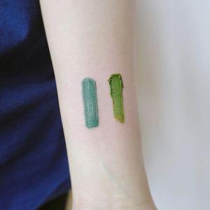 Artistic tattoo by Nando #Nando #forearm #paint #brushstroke #color #tattoosforartists #artistictattoos #fineart #art #artistic #create #creative #unique