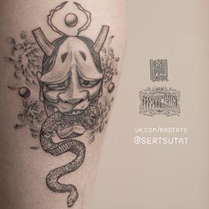 Finished. Законченая ханья для Дарьи🤘🔥 #hanya #moscow #blackandgrey #graphic #irezumi #hannyamask #tattooartistmoscow
