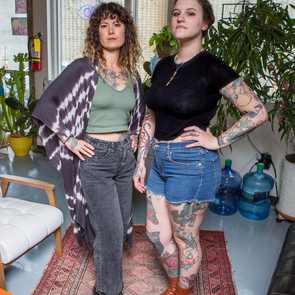 Kim Deakins and Lydia Hunt of Pink Goblin Tattoo in Athens, Georgia #KimDeakins #PinkGoblinTattoo #Athens #georgia #LydiaHunt #femaletattooartist #femaletattooist #femaleartist #womensempowerment #safespace #tattoostudio #tattooshop