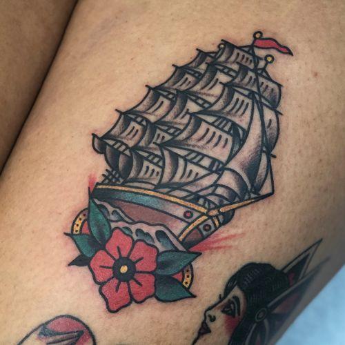 #daveborjes #daveborjestattoo #schooner #shiptattoo #traditional #traditionaltattoo