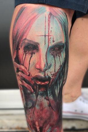 Blood lust series #tattoo#crownpoint#indiana#tattooartist#tattoolife#inked#inkedmag#Tattoosnob#skinartmag#tattoodo#tattoosofinstagram#picoftheday#tattoostyle#realism#portraittattoo#horror#debsotattoogreyinks#allegoryink#electrumsupply#worldfamousink#colortattoo#indianatattooer