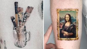 Artistic tattoo on the left by Ziho and tattoo on the right by Kozo #Kozo #Ziho #tattoosforartists #artistictattoos #fineart #art #artistic #create #creative #unique