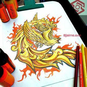 "[TATTOO DESIGN] (Diseño disponible) ""Fénix de Oro"" Estilo Ilustración. Full color. Diseño propio Artista: FB/INSTA: @jaime.sxe #SkylineStudio #TattooCoverUp #CreateYourself"