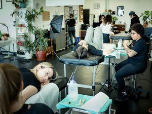 Minuit Dix  in Montreal, Canada  #MurielDeMai #MinuitDix #Montreal #femaletattooartist #femaletattooist #femaleartist #womensempowerment #safespace #tattoostudio #tattooshop