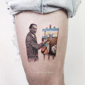 Artistic tattoo by Edit Paints and Kozo #EditPaints #KozoTattoo #Dali #salvadordali #painting #meltingclock #leg #upperleg #tattoosforartists #artistictattoos #fineart #art #artistic #create #creative #unique