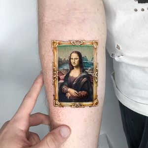 Artistic tattoo by Kozo Tattoos #KozoTattoos #forearm #arm #MonaLisa #DaVinci #painting #tattoosforartists #artistictattoos #fineart #art #artistic #create #creative #unique