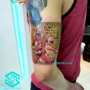 "[SLEEVE PROJECT TATTOO] ""Power Rangers"" Estilo Ilustración. Full color. Diseño personalizado Segunda sesión Artista: FB/INSTA: @jaime.sxe #SkylineStudio #TattooCoverUp #CreateYourself"