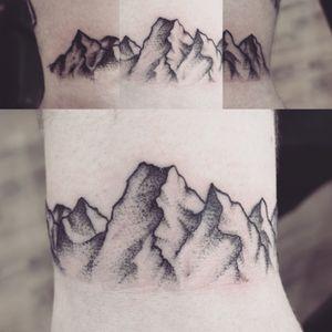 Mountain wrist bracelet #mountains #dotwork #bracelettattoo